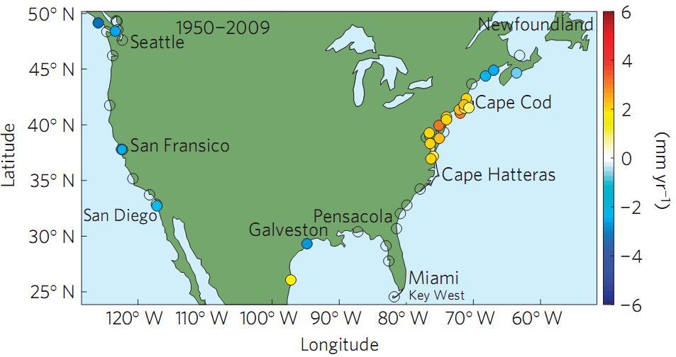Sea Level Rise along the Atlantic Coast of North America north of