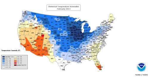 DivisionalTemperatureAnomaliesFeb2014